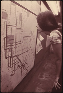 """Young Woman Looks at a Route Map..."" by Jim Pickerell, Environmental Protection Agency, National Archives, ARC Identifier 556822"