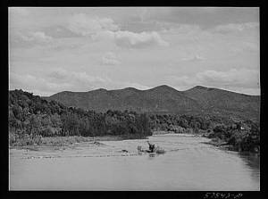 """Fork of Shenandoah River, Shenandoah Valley, Virginia"" by Marion Post Wolcott, Farm Security Administration, http://hdl.loc.gov/loc.pnp/fsa.8c14994"